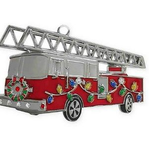 Harvey Lewis Fire Truck Holiday Ornament Crystals